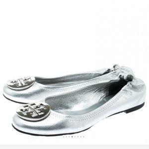 Tory Burch Metallic Silver Leather Ballet Flat 7